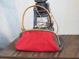 がまぐち troncoバッグ  倉敷帆布 レッド&ダークブラウンの画像