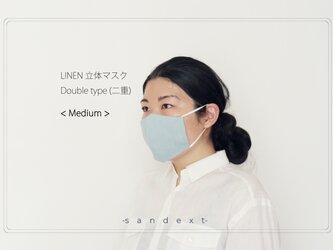 [リネン100% 抗菌 防臭 速乾] 夏のリネン立体マスク < M size > ライトブルーの画像