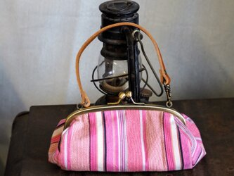 がまぐち troncoバッグ  倉敷帆布 ピンクストライプの画像