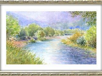 水彩画原画 夏の穂高川 #424の画像