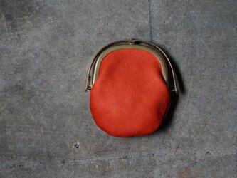 ワンタッチOPEN真鍮がまぐちコインケース#手塗りLEATHER-redの画像