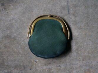 ワンタッチOPEN真鍮がまぐちコインケース#手塗りLEATHER-greenの画像