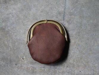 ワンタッチOPEN真鍮がまぐちコインケース#手塗りLEATHER-brownの画像
