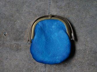 ワンタッチOPEN真鍮がまぐちコインケース#手塗りLEATHER-blueの画像
