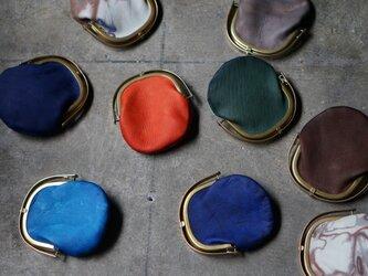 ワンタッチOPEN真鍮がまぐちコインケース#絞り染め加工羊革の画像