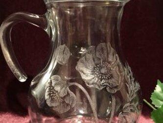 アネモネの水差し〜手彫りガラス〜の画像