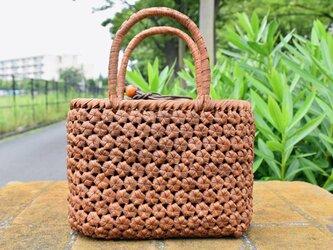 山葡萄(やまぶどう)籠バッグ | 六角花結び編み | 巾着と中布付き | (約)幅24cmx高さ18cmx奥行12cmの画像