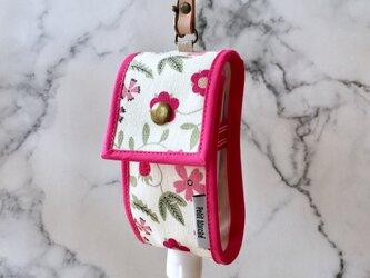 リバティ・ファブリック使用 携帯アルコールジェルホルダー ピンクの画像