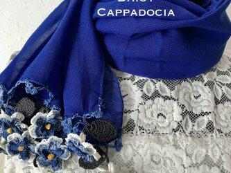 立体刺繍の花付き コットンストール ブルー&ホワイトの画像