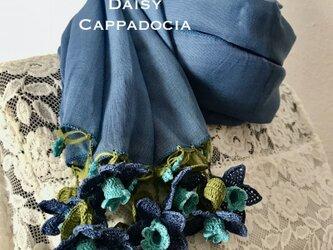 立体刺繍の花付き コットンストール デニムブルー&スカイブルーの画像