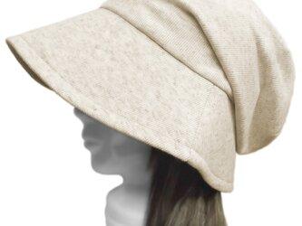 リブ織コットン混ニット/つば広女優帽子(ゆったり)◆杢ナチュラルの画像