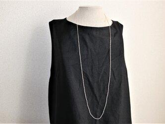 2mm玉ローズクオーツのノットネックレス 85cm シルク糸手編み の画像