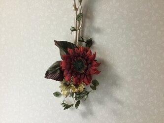 布花赤いひまわりの画像