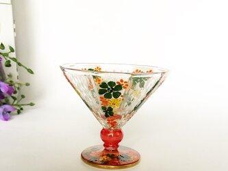 心ばかりの~鱗とお花の10面カットミニグラスOrGの画像