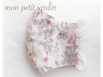 ペールピンク花柄 立体マスク(ゴム付き)の画像