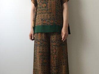 着物リメイク ポンチョ風ブラウス 更紗風の画像