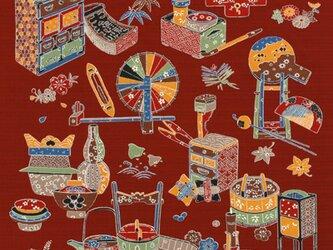 風呂敷  包み 木綿 ふろしき  民芸ちらし 京都 綿100% 105cm幅 贈り物の画像
