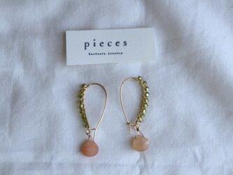 wing drop earrings - orangeの画像