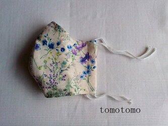 夏向き 綿麻のマスク 青と紫色の花柄の画像