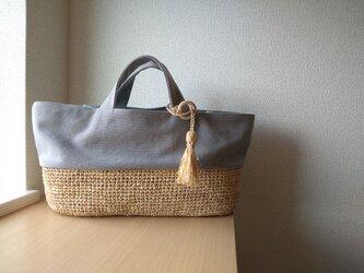 ☆『夏の福袋セット』☆ マダガスカル産ラフィアとヴィンテージ帆布のピクニックトート( gray )の画像