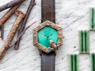 調和を願う蛙六角形腕時計M若草の画像