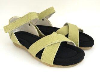ROUND cross-belt sandals #倉敷帆布 #受注製作の画像