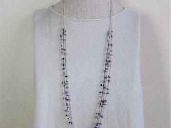 糸編みネックレス アイオライト 3連70cm 薄いベージュ糸の画像