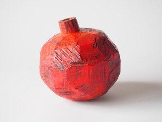 赤の果物(木のオブジェ・一輪挿し)の画像