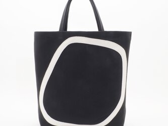 whiteleather pattern bag3(黒×白)33×28×7/GDZ005の画像