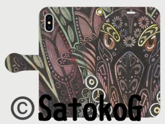 手帳型iPhoneケース/スマホケース/セージライチョウ/キジオライチョウ/鳥の画像
