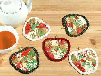 りんごのコースター(5枚組) ~賑やかな食卓~の画像