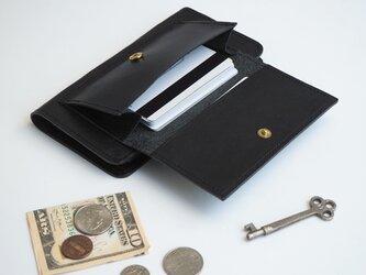 【カードがたくさん入る】フラップポケット付 アイフォンケース(ブラック)手帳型 牛革 TPUソフト ILL-1187の画像