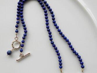 ラピスラズリとシルバービーズのネックレスの画像
