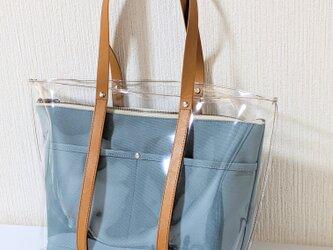 クリアトートバッグin帆布クラッチ(ブルーグレー)の画像