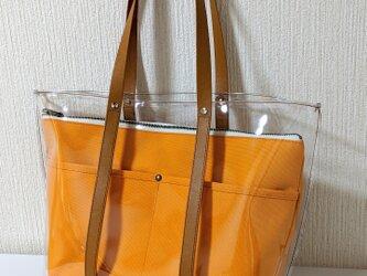 クリアトートバッグin帆布クラッチ(オレンジ)の画像