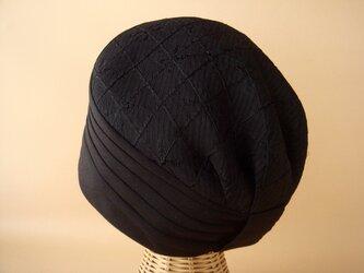 タック帽(ダイヤ柄)04-BKの画像