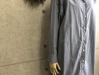 さらさらペルー超長綿 スタンド襟シャツワンピースの画像