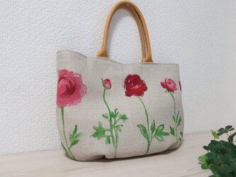 ふっくら花柄フランスリネントートバックの画像