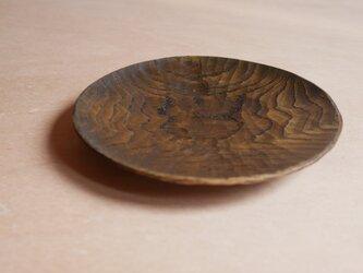 丸皿175 くり 黒拭き漆 #0249の画像