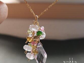 宝石質ピンクアメジストAAA✽モルガナイト✽トルマリン14kgfネックレスの画像