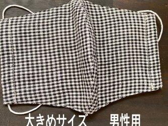 洋服屋さんのマスク*大きめリネン・ギンガムチェック・男性用・送料無料の画像