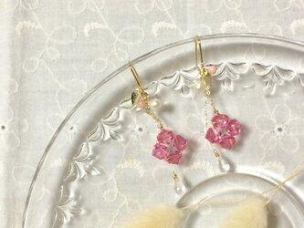 紫陽花のピアス(ピンク)の画像