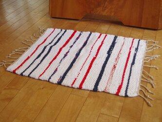 裂き織りの猫マット(小さいサイズの手織りのラグマット)の画像