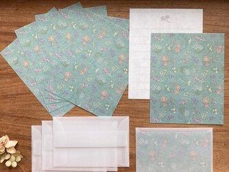 和紙のMiniレターセット【アンティークの花】の画像