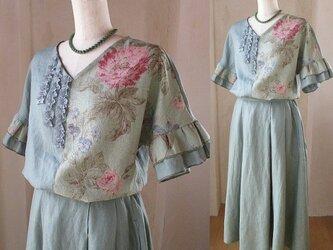 sold 3way YUWA 絵画なパッチワーク フリル袖のプルオーバー タックギャザースカート セットアップの画像
