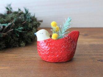 〈再販〉鳥の花入れ (赤い鳥)の画像