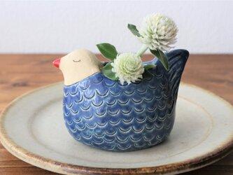 鳥の花入れ (青い鳥)の画像