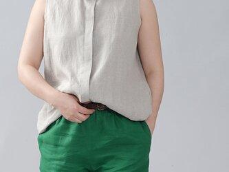 【wafu】やや薄地 リネン ちび襟 ノースリーブ 比翼シャツ リネンタンクトップ/亜麻ナチュラル t018a-amn1の画像