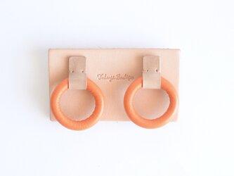 【レザーピアス/イヤリング】 Donuts〝orange〟の画像