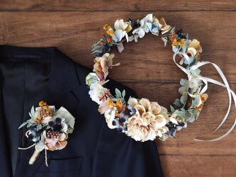 ニュアンスカラーのナチュラルな花冠&ブートニア2点セットの画像